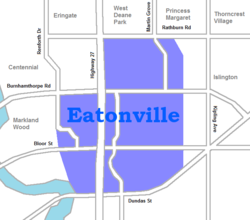Map of Eatonville near Etobicoke, Canada